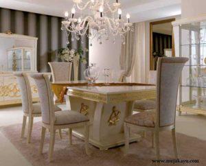 Meja Makan Mewah Putih Emas