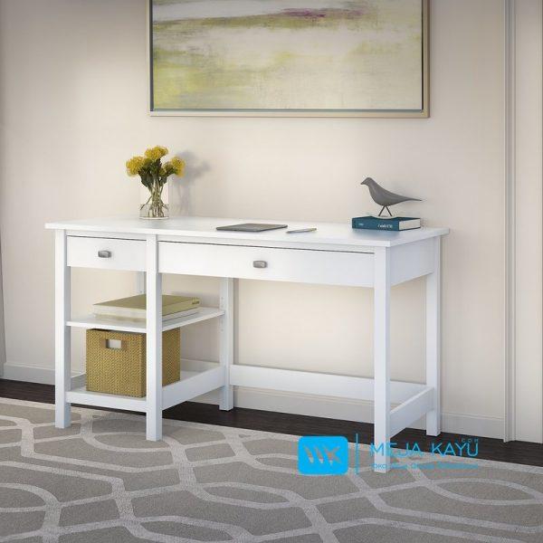 meja kerja duco putih sederhana